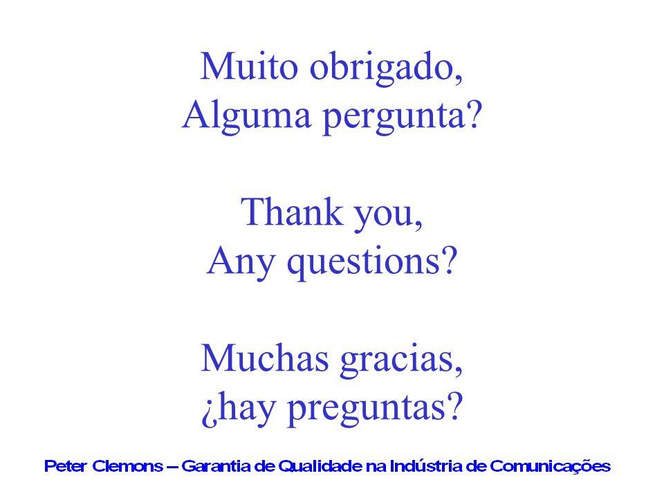 Muito obrigado, Alguma pergunta? Thank you, Any questions? Muchas gracias, ¿hay preguntas?