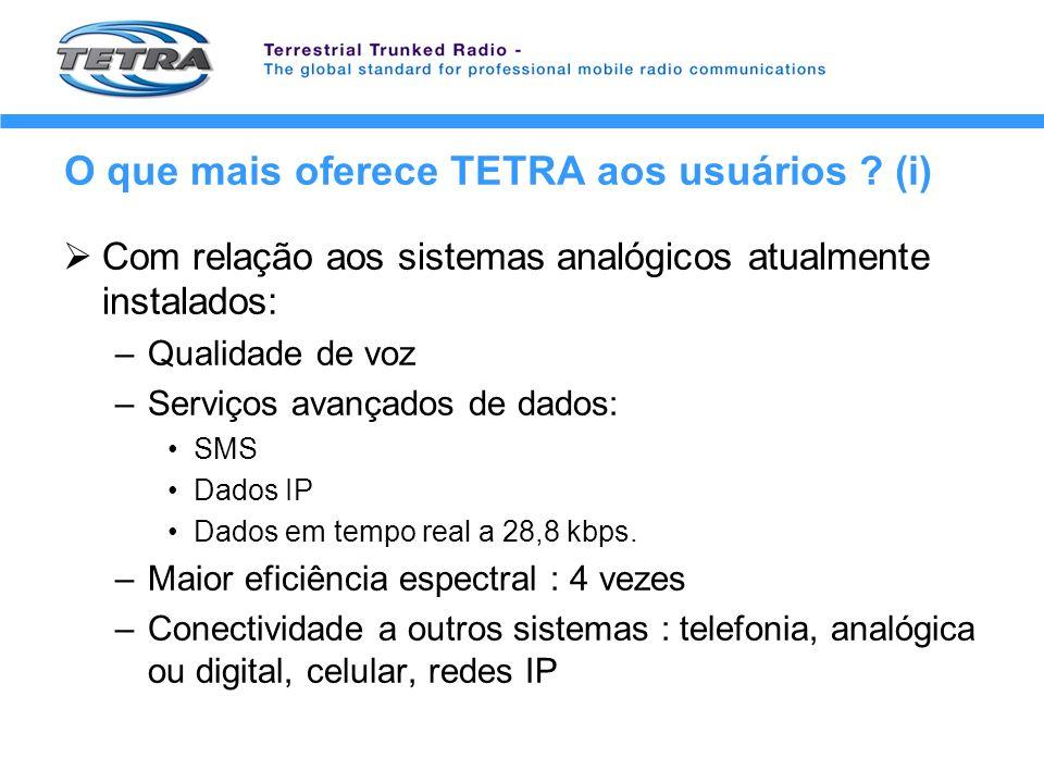 O que mais oferece TETRA aos usuários ? (i) Com relação aos sistemas analógicos atualmente instalados: –Qualidade de voz –Serviços avançados de dados: