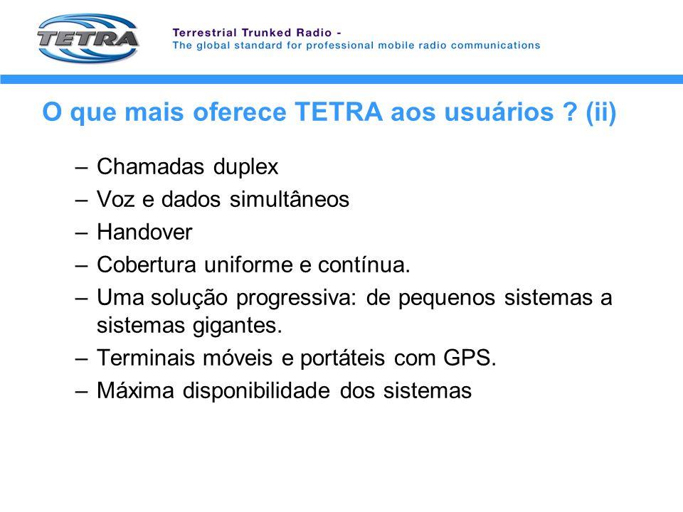 O que mais oferece TETRA aos usuários ? (ii) –Chamadas duplex –Voz e dados simultâneos –Handover –Cobertura uniforme e contínua. –Uma solução progress