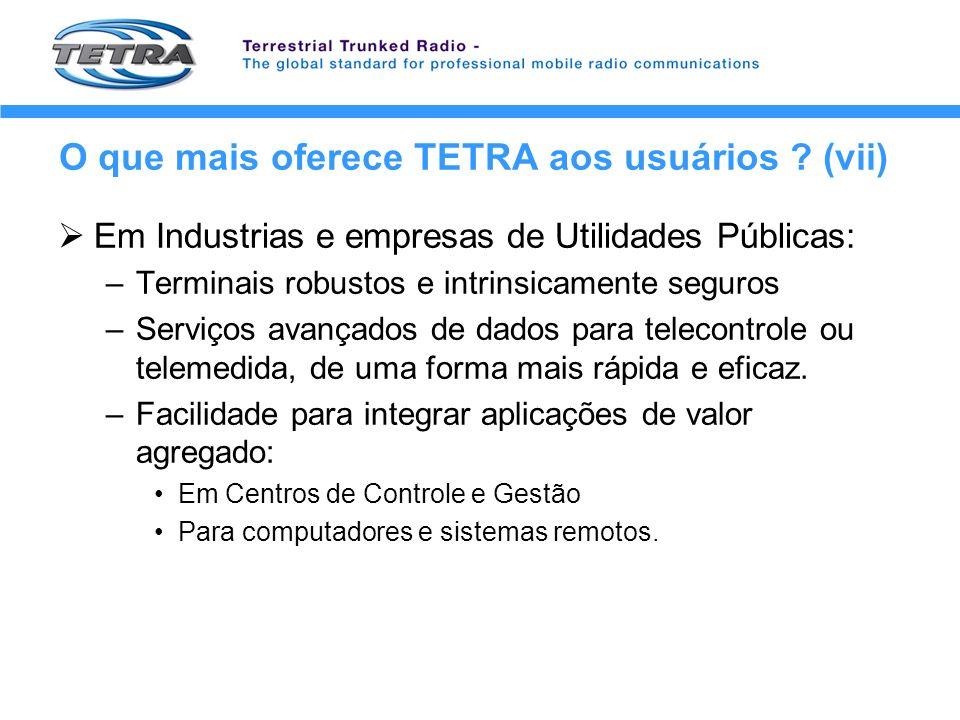 O que mais oferece TETRA aos usuários ? (vii) Em Industrias e empresas de Utilidades Públicas: –Terminais robustos e intrinsicamente seguros –Serviços