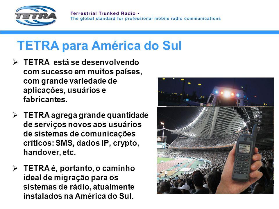 TETRA para América do Sul TETRA está se desenvolvendo com sucesso em muitos países, com grande variedade de aplicações, usuários e fabricantes. TETRA