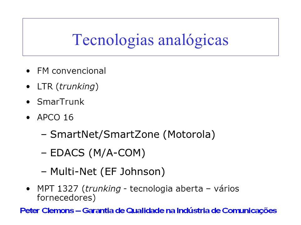 Tecnologias analógicas FM convencional LTR (trunking) SmarTrunk APCO 16 –SmartNet/SmartZone (Motorola) –EDACS (M/A-COM) –Multi-Net (EF Johnson) MPT 13