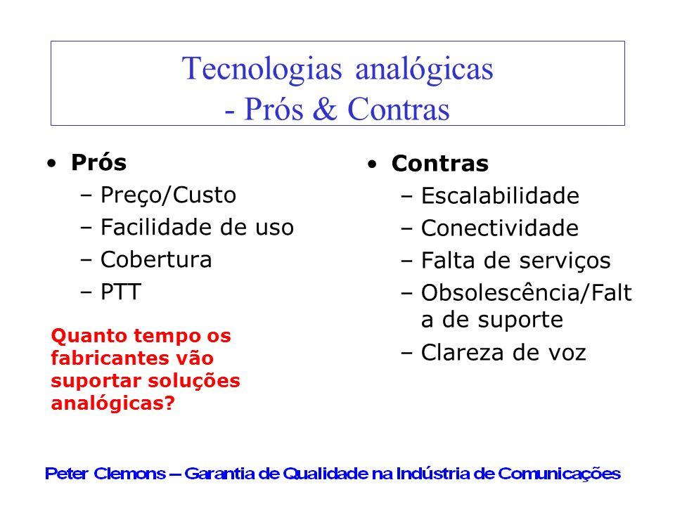 Tecnologias analógicas - Prós & Contras Prós –Preço/Custo –Facilidade de uso –Cobertura –PTT Contras –Escalabilidade –Conectividade –Falta de serviços