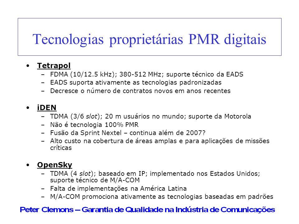 Tecnologias proprietárias PMR digitais Tetrapol –FDMA (10/12.5 kHz); 380-512 MHz; suporte técnico da EADS –EADS suporta ativamente as tecnologias padr