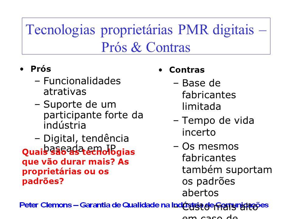 Tecnologias proprietárias PMR digitais – Prós & Contras Prós –Funcionalidades atrativas –Suporte de um participante forte da indústria –Digital, tendê