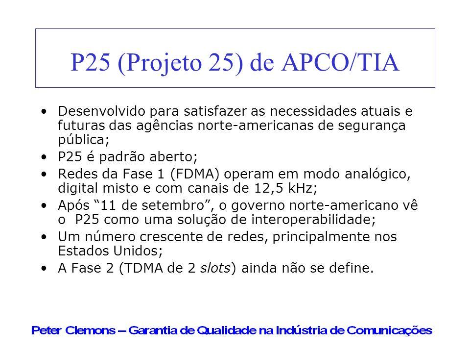 P25 (Projeto 25) de APCO/TIA Desenvolvido para satisfazer as necessidades atuais e futuras das agências norte-americanas de segurança pública; P25 é p