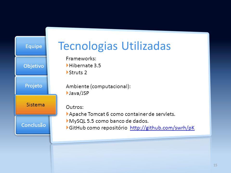 Objetivo Projeto Documentos Equipe Conclusão Sistema 16 Arquitetura