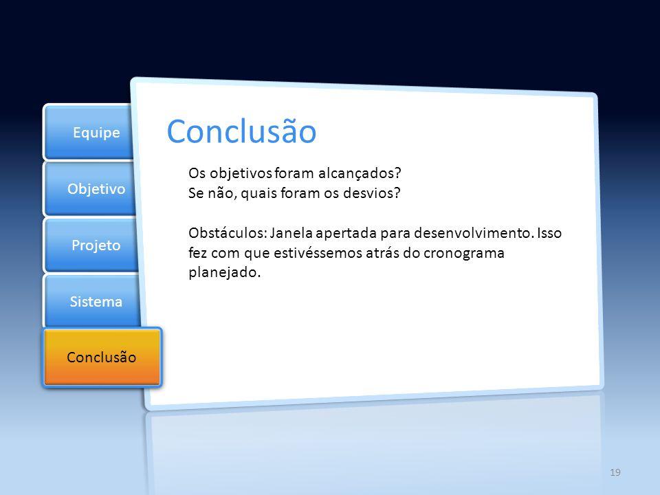 l Objetivo Projeto Sistema Equipe Checklist Conclusão Lições aprendidas.