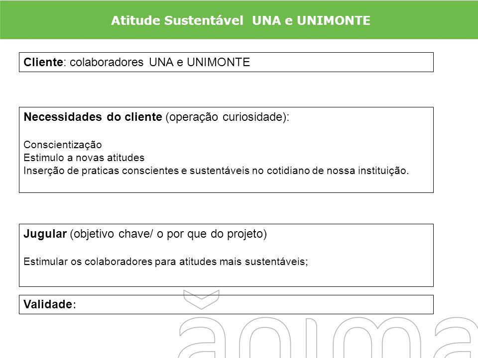 Cliente: colaboradores UNA e UNIMONTE Necessidades do cliente (operação curiosidade): Conscientização Estimulo a novas atitudes Inserção de praticas c