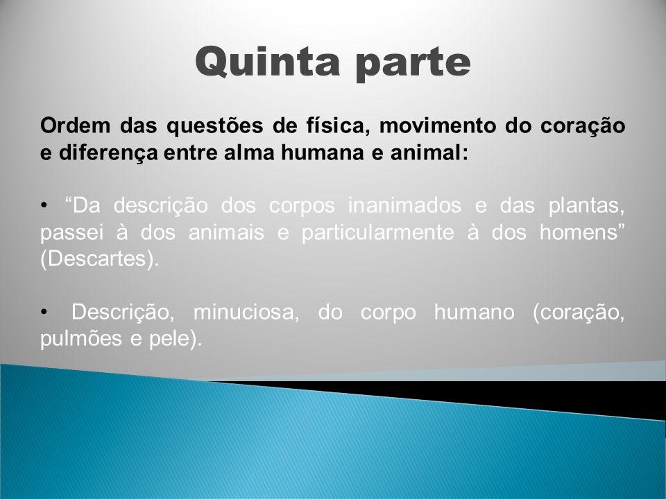 Quinta parte Ordem das questões de física, movimento do coração e diferença entre alma humana e animal: Da descrição dos corpos inanimados e das plant