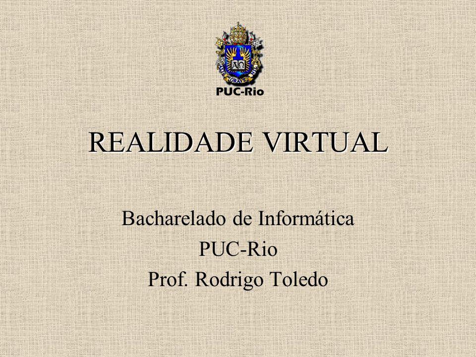 TÓPICOS DEFINIÇÃO (imersão, interação) DIFERENTES APLICAÇÕES VISÃO ESTÉREO VISUALIZAÇÃO ESTÉREO HARDWARE (computadores e placas gráficas) DISPOSITIVOS DE VISUALIZAÇÃO OUTROS DISPOSITIVOS SALAS DE VISUALIZAÇÃO REALIDADE VIRTUAL DISTRIBUÍDA DESAFIOS, AVANÇOS E FUTURO