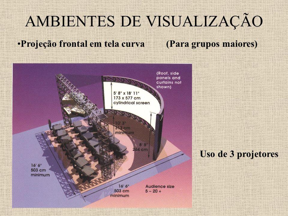 AMBIENTES DE VISUALIZAÇÃO Projeção frontal em tela curva(Para grupos maiores) Uso de 3 projetores