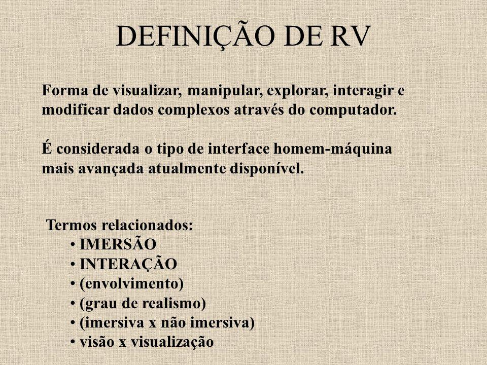 DEFINIÇÃO DE RV Forma de visualizar, manipular, explorar, interagir e modificar dados complexos através do computador.