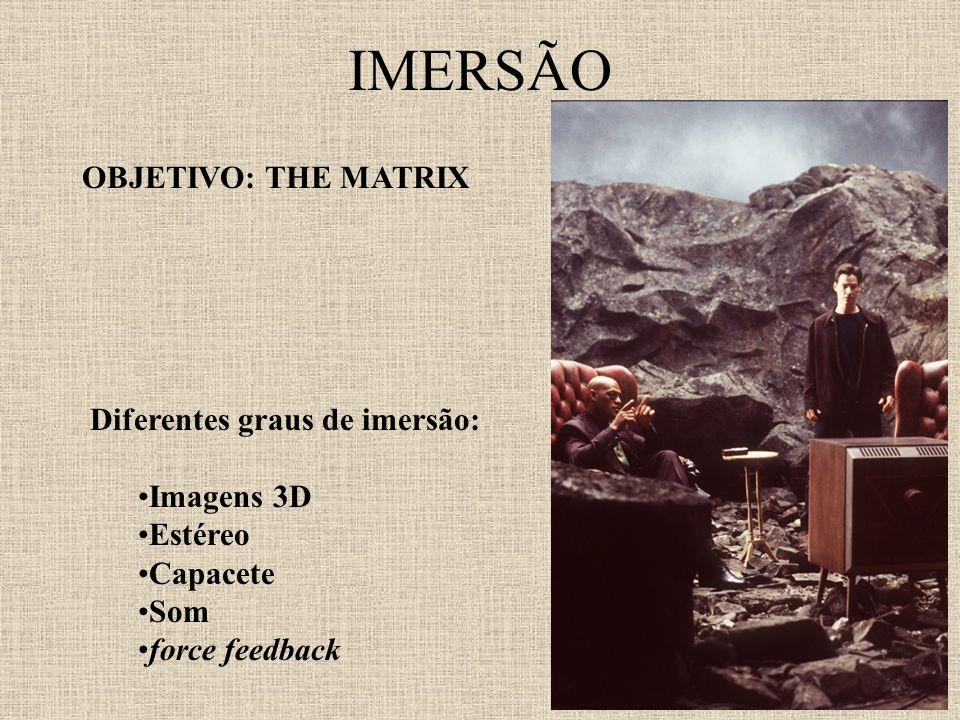 IMERSÃO OBJETIVO: THE MATRIX Diferentes graus de imersão: Imagens 3D Estéreo Capacete Som force feedback