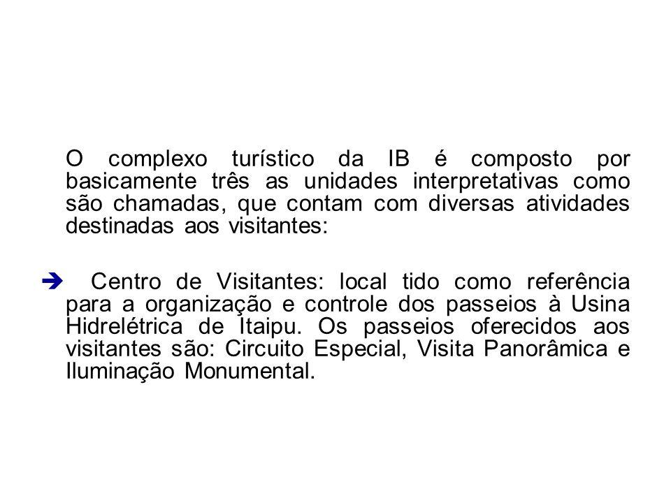 O complexo turístico da IB é composto por basicamente três as unidades interpretativas como são chamadas, que contam com diversas atividades destinada