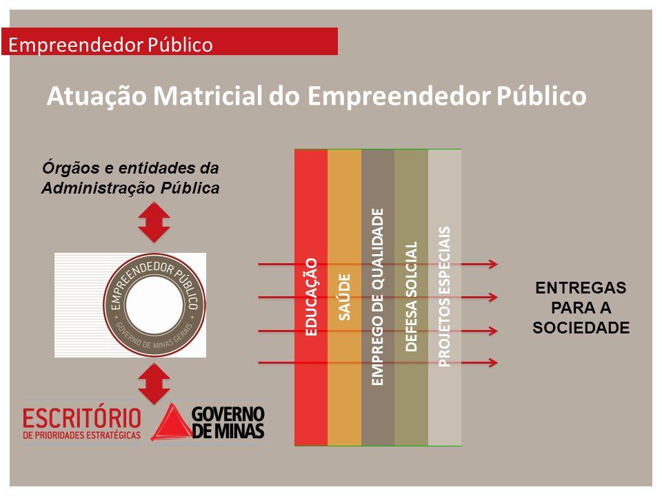 Empreendedor Público Atuação Matricial do Empreendedor Público Órgãos e entidades da Administração Pública EDUCAÇÃO SAÚDE EMPREGO DE QUALIDADE DEFESA