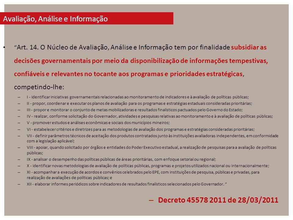 Art. 14. O Núcleo de Avaliação, Análise e Informação tem por finalidade subsidiar as decisões governamentais por meio da disponibilização de informaçõ