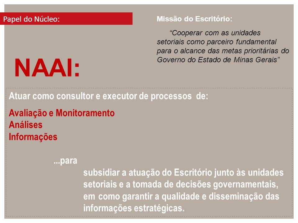 Atuar como consultor e executor de processos de: Avaliação e Monitoramento Análises Informações...para subsidiar a atuação do Escritório junto às unid