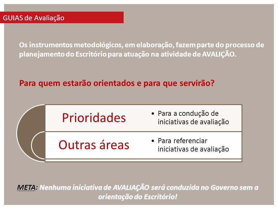 Os instrumentos metodológicos, em elaboração, fazem parte do processo de planejamento do Escritório para atuação na atividade de AVALIÇÃO.