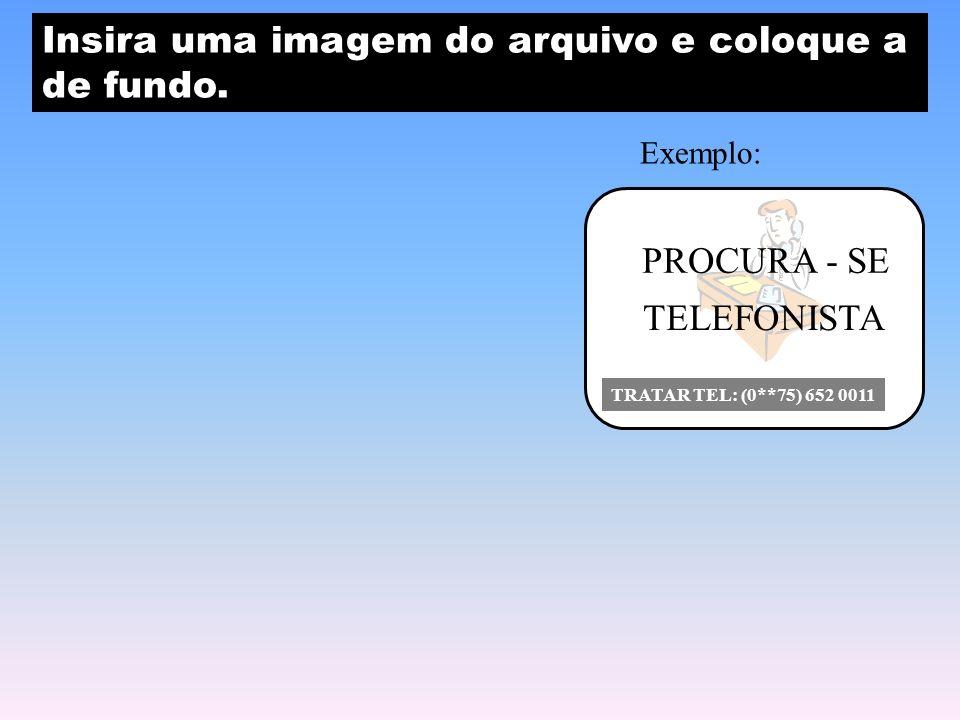 PROCURA - SE TELEFONISTA TRATAR TEL: (0**75) 652 0011 Insira uma imagem do arquivo e coloque a de fundo.