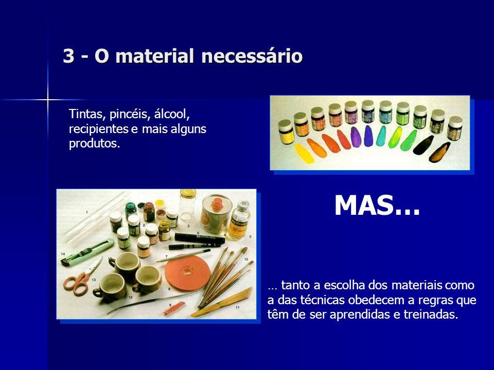 3 - O material necessário Tintas, pincéis, álcool, recipientes e mais alguns produtos. … tanto a escolha dos materiais como a das técnicas obedecem a
