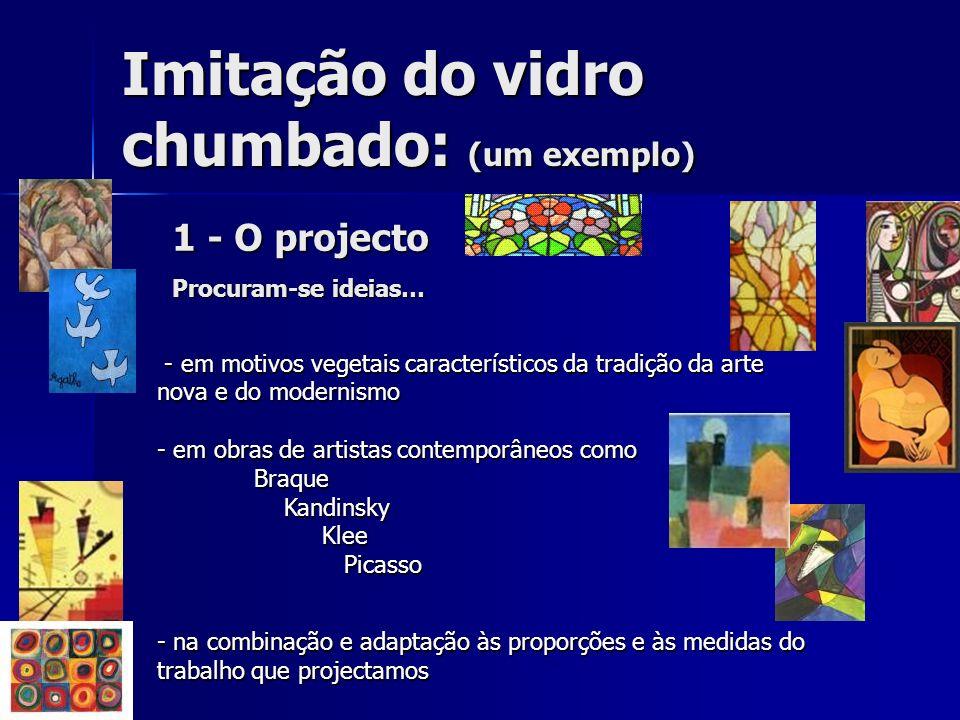 Imitação do vidro chumbado: (um exemplo) 1 - O projecto Procuram-se ideias… - em motivos vegetais característicos da tradição da arte nova e do modern