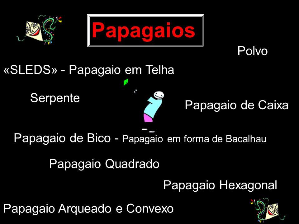 «SLEDS» - Papagaio em Telha Papagaios Papagaio de Bico - Papagaio em forma de Bacalhau Papagaio Quadrado Papagaio Hexagonal Serpente Polvo Papagaio Ar