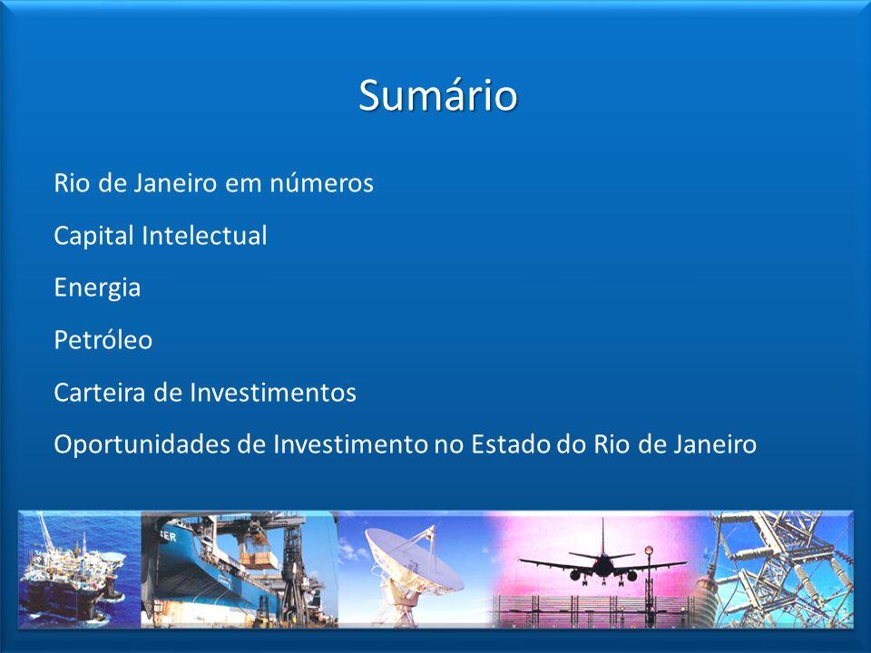 Sumário Rio de Janeiro em números Capital Intelectual Energia Petróleo Carteira de Investimentos Oportunidades de Investimento no Estado do Rio de Jan