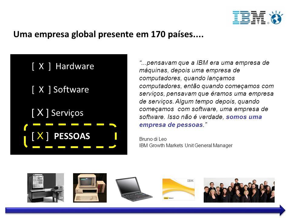 Dedicação ao sucesso de cada cliente Inovação que faz a diferença – para nossa companhia e para o mundo Confiança e responsabilidade pessoal em todos os relacionamentos Valores IBM