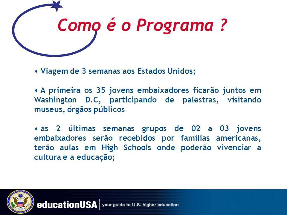Como é o Programa ? Viagem de 3 semanas aos Estados Unidos; A primeira os 35 jovens embaixadores ficarão juntos em Washington D.C, participando de pal