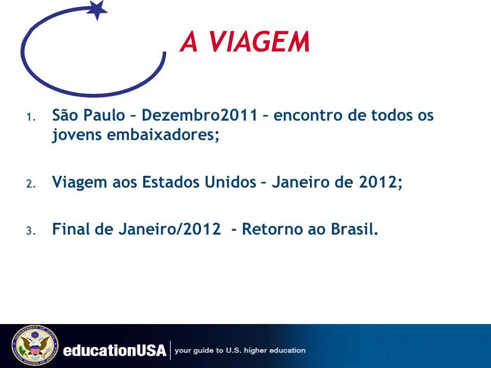 A VIAGEM 1. São Paulo – Dezembro2011 – encontro de todos os jovens embaixadores; 2. Viagem aos Estados Unidos – Janeiro de 2012; 3. Final de Janeiro/2