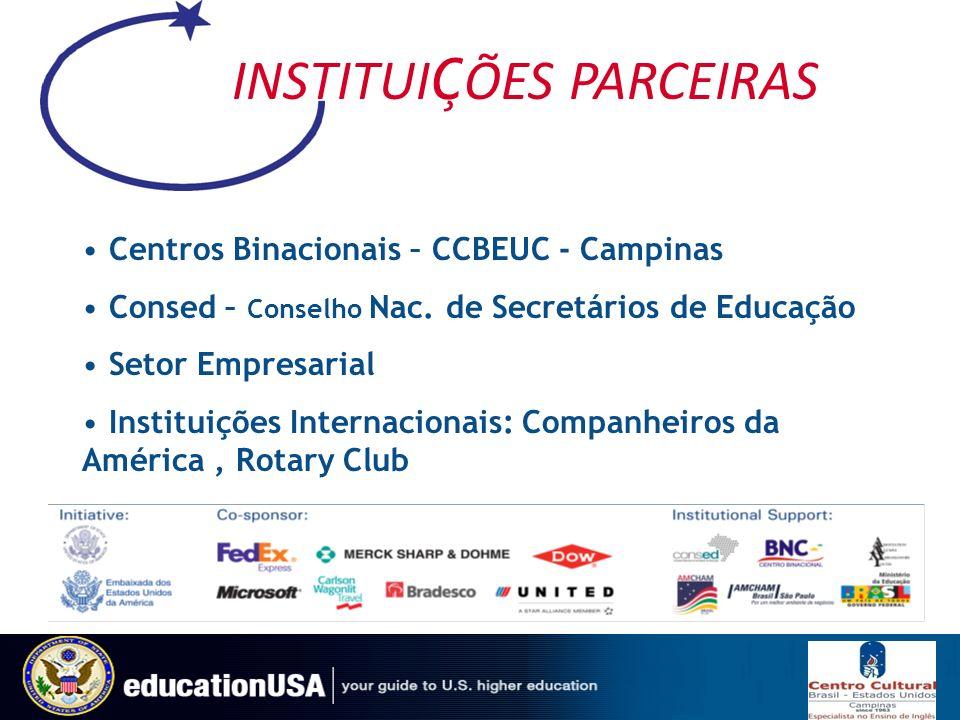 INSTITUI Ç ÕES PARCEIRAS Centros Binacionais – CCBEUC - Campinas Consed – Conselho Nac. de Secretários de Educação Setor Empresarial Instituições Inte