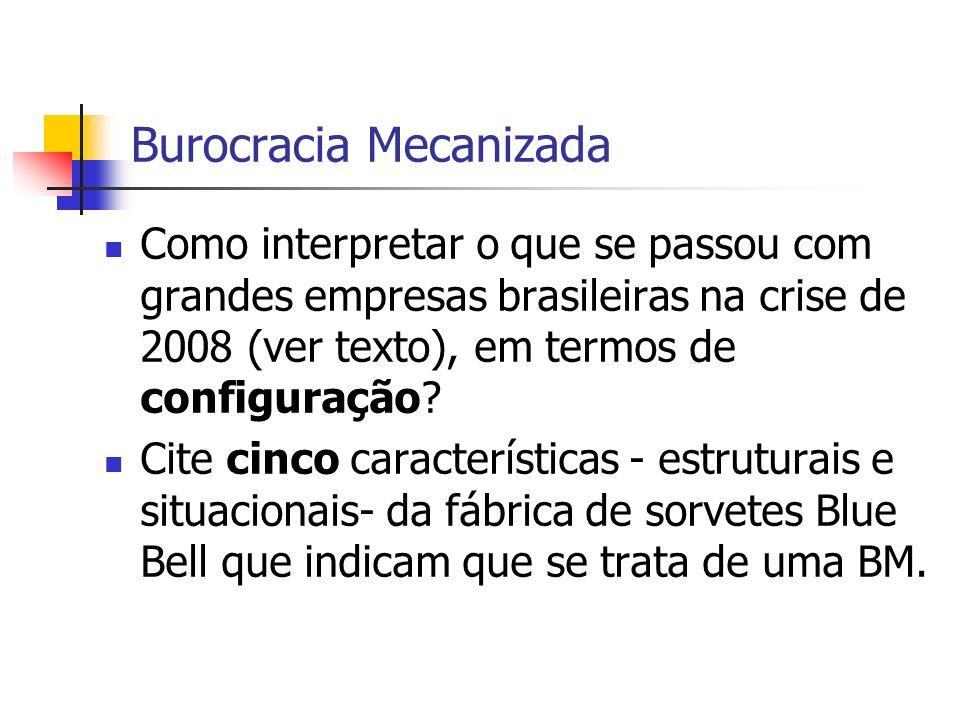 Burocracia Mecanizada Como interpretar o que se passou com grandes empresas brasileiras na crise de 2008 (ver texto), em termos de configuração? Cite
