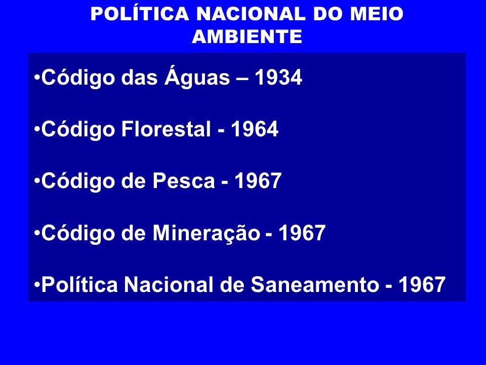 POLÍTICA NACIONAL DO MEIO AMBIENTE Código das Águas – 1934 Código Florestal - 1964 Código de Pesca - 1967 Código de Mineração - 1967 Política Nacional