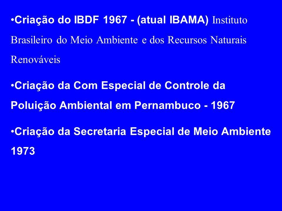 Criação do IBDF 1967 - (atual IBAMA) Instituto Brasileiro do Meio Ambiente e dos Recursos Naturais Renováveis Criação da Com Especial de Controle da P