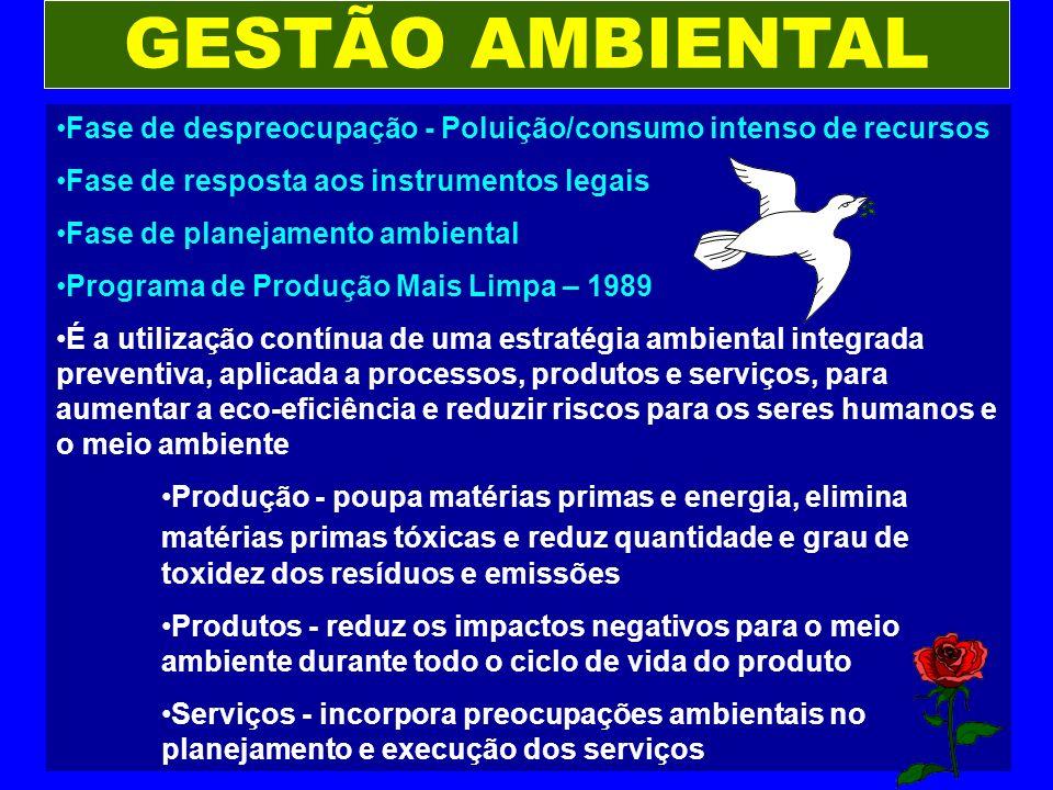 GESTÃO AMBIENTAL Fase de despreocupação - Poluição/consumo intenso de recursos Fase de resposta aos instrumentos legais Fase de planejamento ambiental