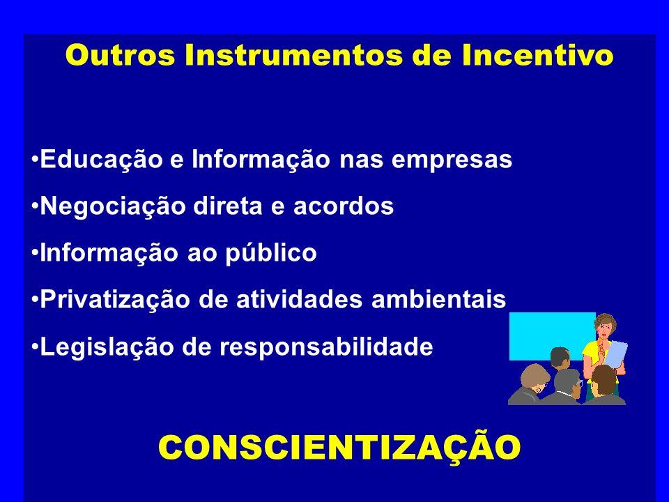 Outros Instrumentos de Incentivo Educação e Informação nas empresas Negociação direta e acordos Informação ao público Privatização de atividades ambie