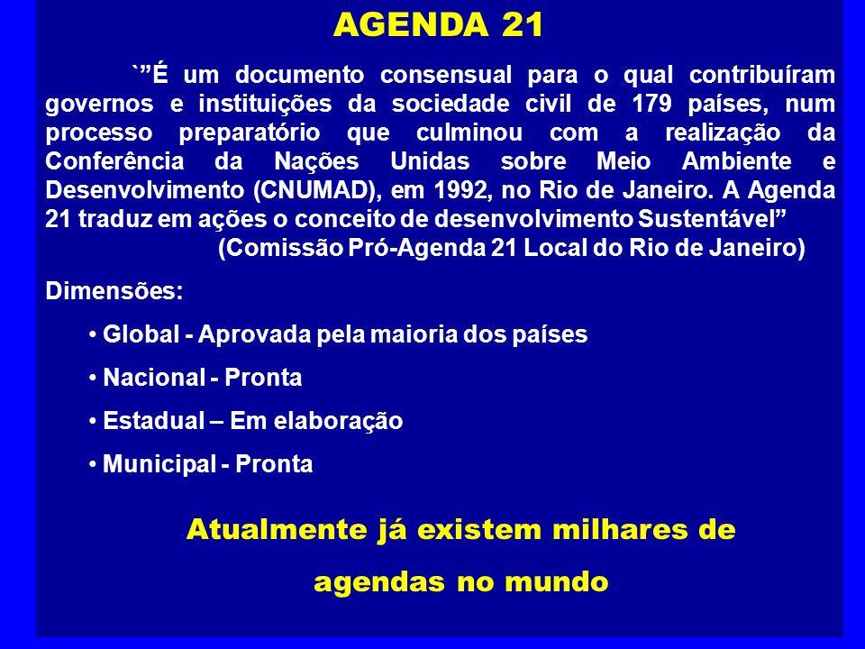 AGENDA 21 `É um documento consensual para o qual contribuíram governos e instituições da sociedade civil de 179 países, num processo preparatório que