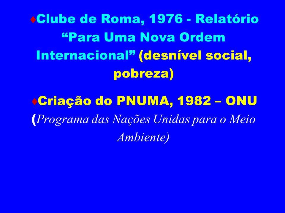 Comissão Mundial Independente sobre Meio Ambiente e Desenvolvimento, 1983, ONU Relatório Brundtland, 1987 - O Nosso Futuro Comum (Conceito de Desenvolvimento Sustentável) Lançamento do Programa de Produção Mais Limpa, PNUMA - 1989 Conferência das Nações Unidas sobre o Meio Ambiente e o Desenvolvimento, RIO 1992 Relatório Mudando o Rumo, Conceito de Eco-Eficiência, RIO 1992 Agenda 21, RIO 1992 Tratado de Kioto, Japão 1997 RIO + 10, Joanesburgo 2002