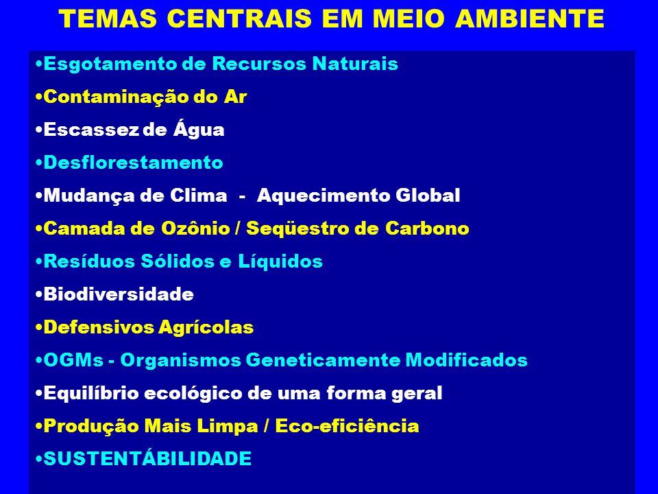 TEMAS CENTRAIS EM MEIO AMBIENTE Esgotamento de Recursos Naturais Contaminação do Ar Escassez de Água Desflorestamento Mudança de Clima - Aquecimento G
