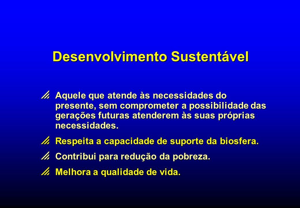 Desenvolvimento Sustentável Aquele que atende às necessidades do presente, sem comprometer a possibilidade das gerações futuras atenderem às suas próp