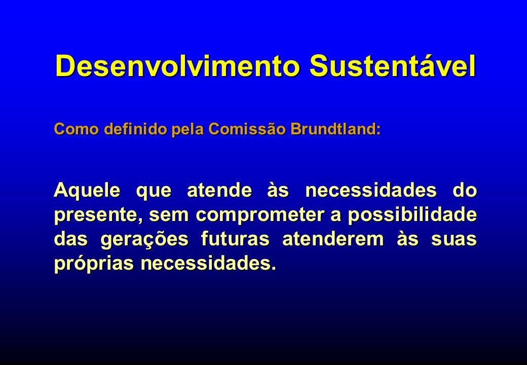 Desenvolvimento Sustentável Como definido pela Comissão Brundtland: Aquele que atende às necessidades do presente, sem comprometer a possibilidade das