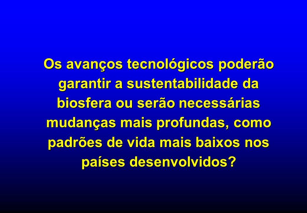 Os avanços tecnológicos poderão garantir a sustentabilidade da biosfera ou serão necessárias mudanças mais profundas, como padrões de vida mais baixos