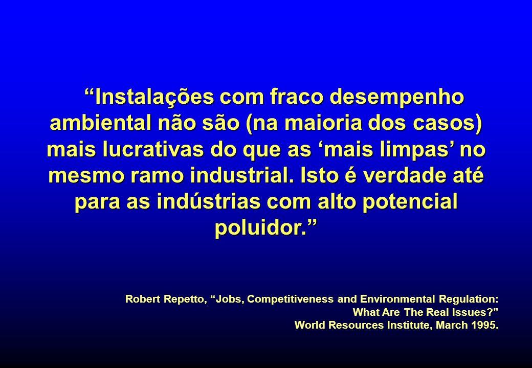 Instalações com fraco desempenho ambiental não são (na maioria dos casos) mais lucrativas do que as mais limpas no mesmo ramo industrial. Isto é verda