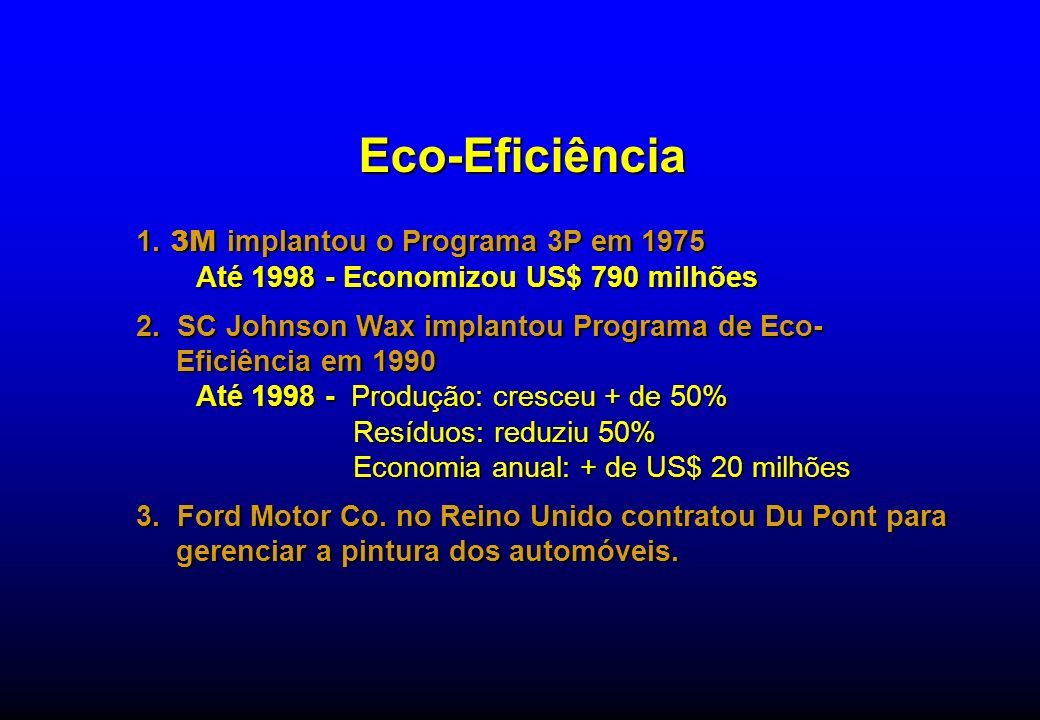 Eco-Eficiência 1. 3M implantou o Programa 3P em 1975 Até 1998 - Economizou US$ 790 milhões 2. SC Johnson Wax implantou Programa de Eco- Eficiência em