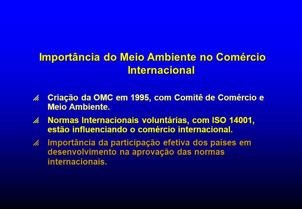 Importância do Meio Ambiente no Comércio Internacional Criação da OMC em 1995, com Comitê de Comércio e Meio Ambiente. Criação da OMC em 1995, com Com