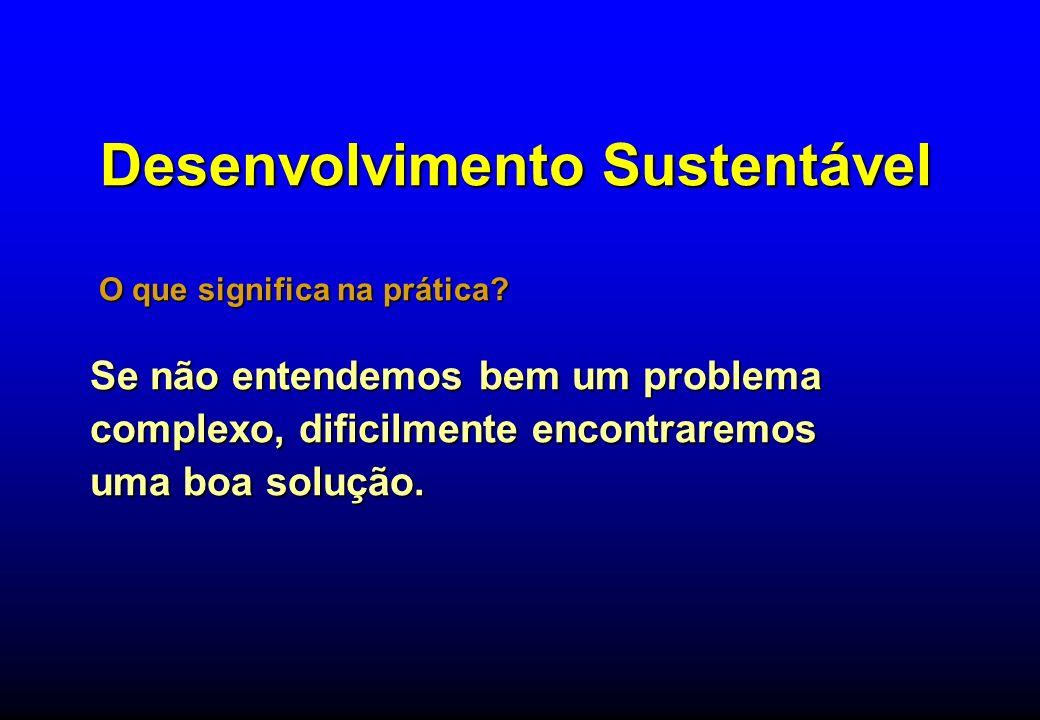 Desenvolvimento Sustentável Aquele que atende às necessidades do presente, sem comprometer a possibilidade das gerações futuras atenderem às suas próprias necessidades.