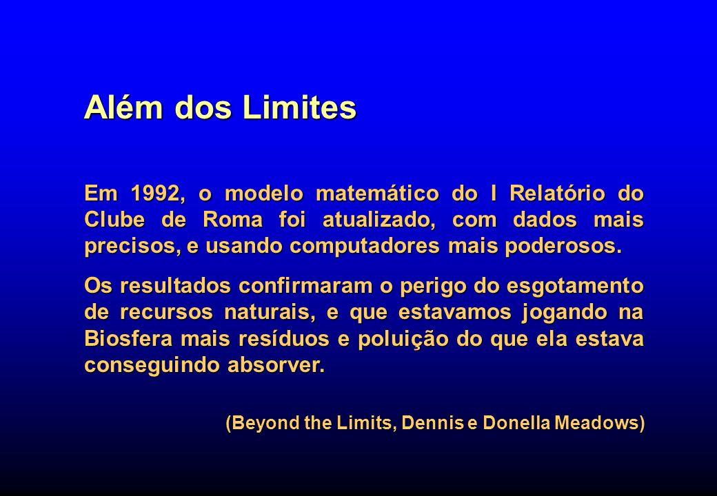 Além dos Limites Em 1992, o modelo matemático do I Relatório do Clube de Roma foi atualizado, com dados mais precisos, e usando computadores mais pode