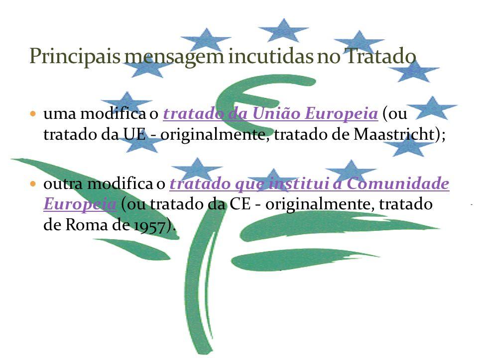 uma modifica o tratado da União Europeia (ou tratado da UE - originalmente, tratado de Maastricht);tratado da União Europeia outra modifica o tratado