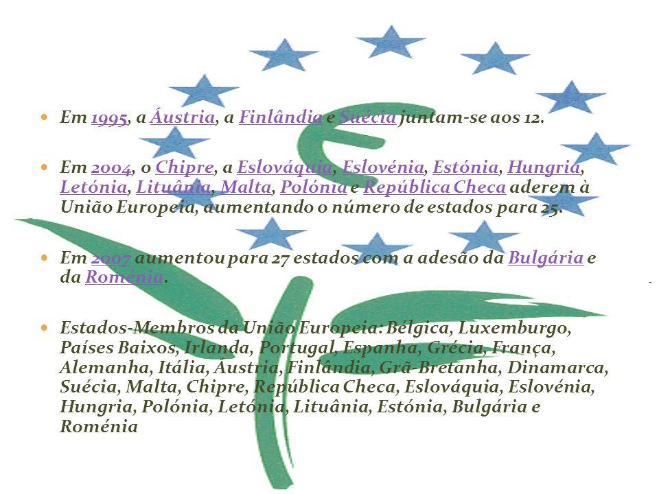 Em 1995, a Áustria, a Finlândia e Suécia juntam-se aos 12.1995ÁustriaFinlândiaSuécia Em 2004, o Chipre, a Eslováquia, Eslovénia, Estónia, Hungria, Let